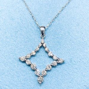Jewelry - Solid white gold diamond pendant necklace